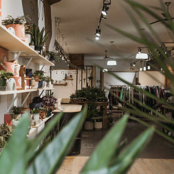 the store Botanical Scene, with pots on the left and a rack of garments at the far end of the store.